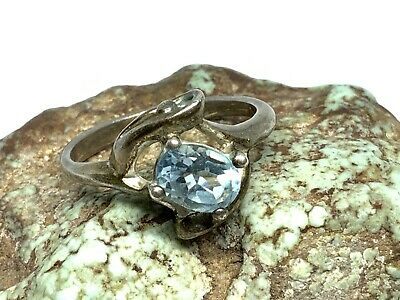 £2.15 • Buy Vintage Signed (M) Sterling Silver Blue Topaz Ladies Solitaire Ring (Sz 6.75)