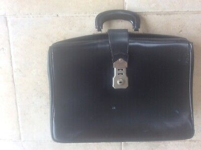 £29.99 • Buy Vintage Black Leather Doctors Lawyers Briefcase Classic Bag Cheney Lock Expands