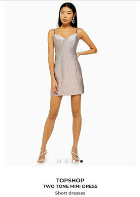 £10 • Buy Topshop Two Tone Pink And Silver Mini Dress Size 8