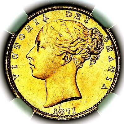 £411 • Buy 1871 Queen Victoria Great Britain London Mint Gold Sovereign NGC MS64+