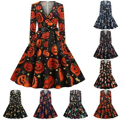 £12.99 • Buy Women Vintage Long Sleeve Halloween 1950s Housewife Evening Party Prom Dress