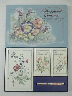 £18.09 • Buy 4 Pc Waterlane Editions Vintage Floral Any Year Diary Address Book Notebook Pen