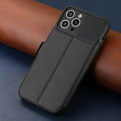 AU12 • Buy Leather Case For IPhone 12 Pro Max 11 XR XS 8 7 Plus Slide Lens Card Slot Cover