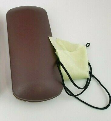 £2.99 • Buy Glasses Case Cover Eyeglasses Spectacle Brown Hard Box Neck Cord Cleaning Cloth