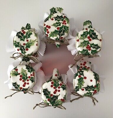 £3 • Buy 6 Christmas Holly Fabric Jam Jar Covers-jam Jar Toppers, Labels Bands & Ties