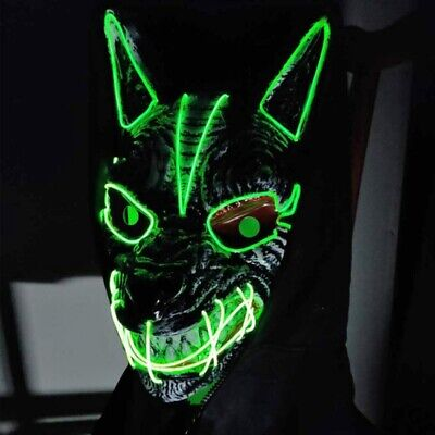 £6.99 • Buy LED Mask Neon Stitches Wolf Wire Light Up  Halloween Party Purge Cosplay Costume