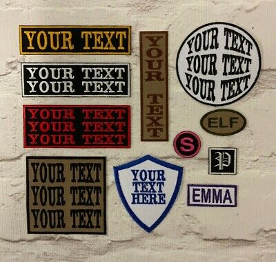 £3.45 • Buy Personalised Waterproof Canvas Cordura Style Embroidered Iron On Name Patch Tag