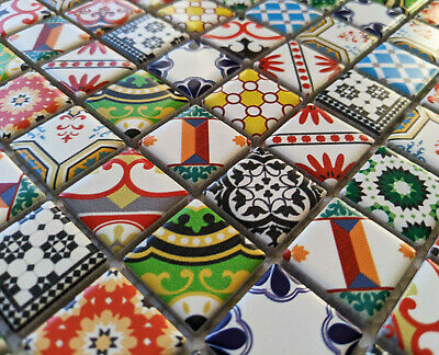 £9.98 • Buy New Moroccan Victorian Style Ceramic Square Mosaic Wall Tiles Turkish Geometric