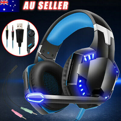 AU28.85 • Buy Gaming Headset For Mac PS4 Xbox One LED Headphones Surround With MIC PC Laptop