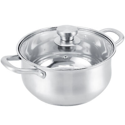 £33.34 • Buy Stainless Steel Deep Stock Pot Soup Saucepan Catering Cooking Pan W/ Glass Lid