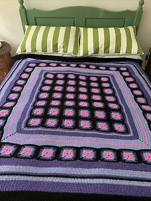 £26.99 • Buy Handmade Crochet Granny Blanket Purple Pink And Black 66 Inches X 62 Inches.