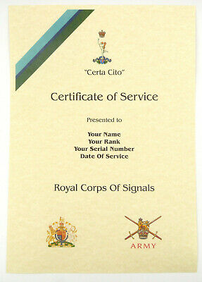£9.99 • Buy Royal Corps Of Signals Personalised Luxury Certificate Of Military Service.
