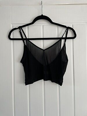 £3 • Buy Hearts And Bows Black Festival Mesh Crop Top Size 8