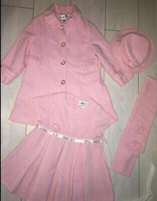 £30 • Buy COUCHE TOT GIRLS • WORN ONCE Pink Coat, Dress, Hate & Scarf Set • Age 3-4