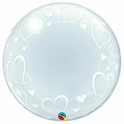 £7.99 • Buy Qualatex Deco Bubble Clear STYLISH HEARTS Party Balloon Decorating 24