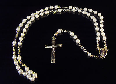 £2.85 • Buy Small White Plastic Pearl Christian Rosary Beads 5mm On Gold Chain