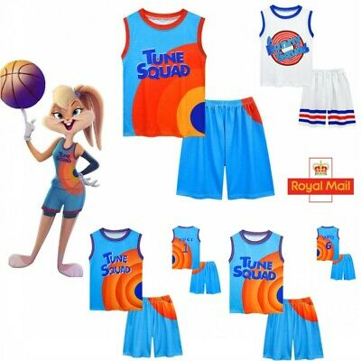 £9.99 • Buy 2Pcs Space Jam Basketball Costume Vest Shirt Tops Shorts Outfit Kids Gift 5-12Y