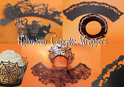 £2.59 • Buy SPIDER WEBS WITCH BATS BLACK PEARLESCENT Laser Cut Cupcake Wrappers Halloween UK