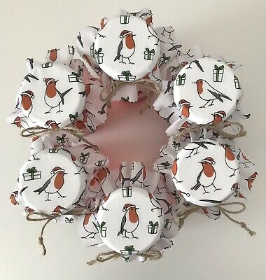 £3 • Buy 6 Christmas Little Robin Fabric Jam Jar Covers/toppers Labels Bands & Ties
