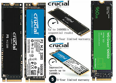 AU84.95 • Buy Crucial P1 P2 P5 250GB 500GB 1000GB 2000GB M.2 PCIe SSD NVMe Solid State Drive