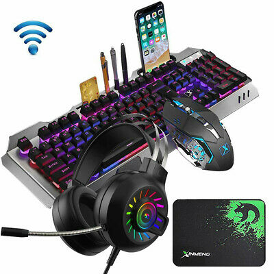 AU75.98 • Buy Wireless RGB Backlit Gaming Keyboard Mouse And Wired Headset And Mat For PC PS4