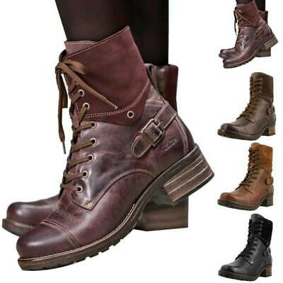 £17.99 • Buy Ladies Womens Military Boots Army Combat Ankle Causal Flat Biker Zip Shoes Size