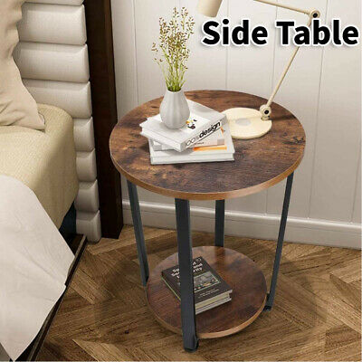 AU57.99 • Buy 2-Tier Wooden Side Table Retro Industrial Style Round Coffee Table Living Room