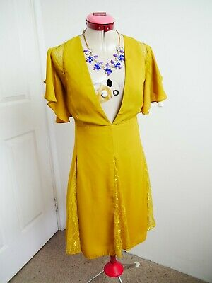 AU50 • Buy ASOS Mustard Yellow DRESS Size UK 18 BNWT NEW Lace Inserts A-Line Party Cocktail
