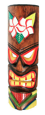 £19.97 • Buy TIKI Mask Wooden Wall Plaque 50cm Hand Carved Painted SURFER/ MAORI STYLE FLOWER