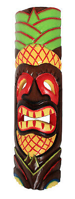 £19.97 • Buy TIKI Mask Wooden Wall Plaque 50cm Hand Carved Painted  MAORI STYLE PINEAPPLE New