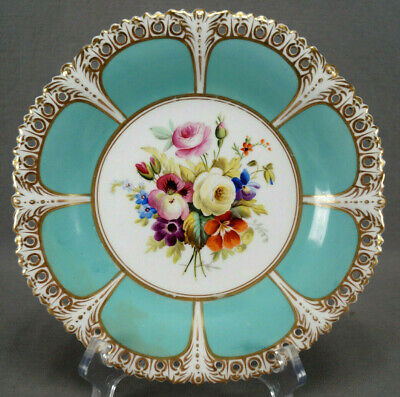 £287.34 • Buy Sampson Bridgwood Hand Painted Floral Turquoise & Gold Reticulated Plate C.1885