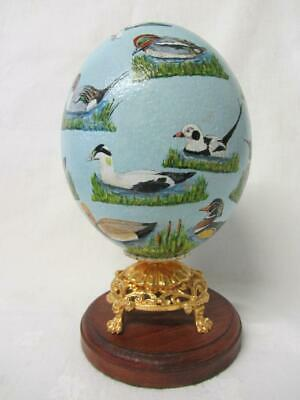 £49.99 • Buy Hand Painted & Signed Real Blown Ostrich Egg British Water Fowl By Gena Cadger