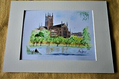 £17.50 • Buy A4 - Mounted Original Water Colour By Ray Hollins -   Worcester Cathedral
