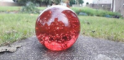 £5 • Buy Controlled Bubble Pink Or Red Glass Paperweight