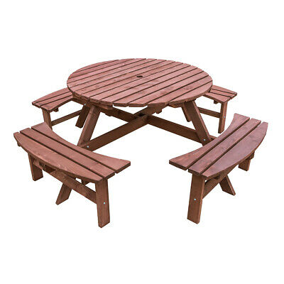 £239.99 • Buy 8 Seaters Wooden Furniture Round Picnic Table & Bench Chair Set Garden Patio NEW