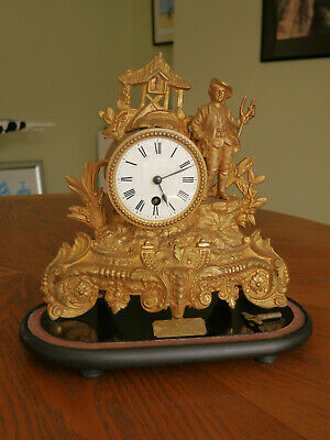 £85 • Buy Glass Domed Gilt Mantle Clock, Dated 1911