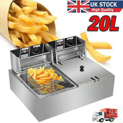 £98.98 • Buy Large Commercial Electric Deep Fryer Fat Chip Dual Tank Stainless Steel 20L UK