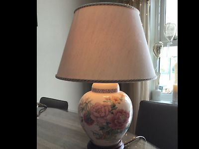£32 • Buy Vintage Table Lamp Pretty Floral Large Ginger Jar Style Wade Pottery Lamp& Shade