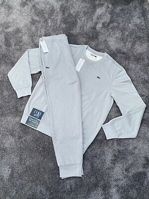 £110 • Buy *bnwt Lacoste Poly Fleece Authentic Exclusive Mens Grey Joggers/sweater Set Xl*