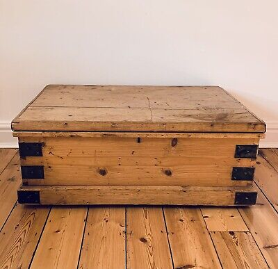 £160 • Buy PINE CHEST, ANTIQUE Wooden Blanket TRUNK, Coffee TABLE, Storage BOX, Vintage,Old