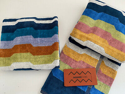 £27.99 • Buy Set Of 2 Missoni Home Designer Hand / Guest Towels Multicolour Colourful BN New