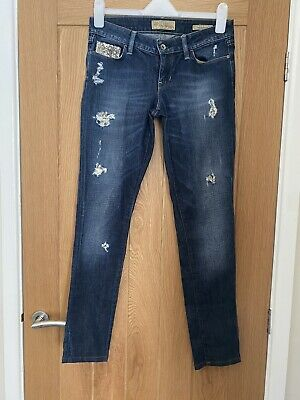 £19.99 • Buy Guess Starlet Blue Skinny Jeans Sequin Detail Distressed Size 10-12