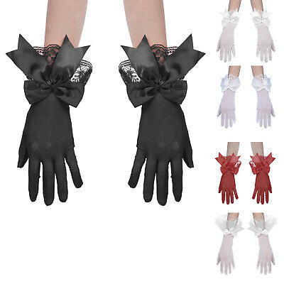 £7.43 • Buy New Women Short Mesh Gloves Wrist Length Satin Bowknot Floral Lace Ruffle Gloves
