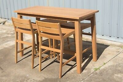 AU799 • Buy Parkville - 5 Piece Outdoor Bar Table Setting - Solid QLD White Gum