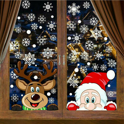 £4.59 • Buy Christmas Snowflake Reindeer Santa Claus Window Cling Static Stickers Holiday