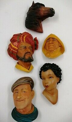 £9.99 • Buy 5 X Mixed Vintage Legend 1984 Bossons Chalkware Heads Chipped & Light Damage D3