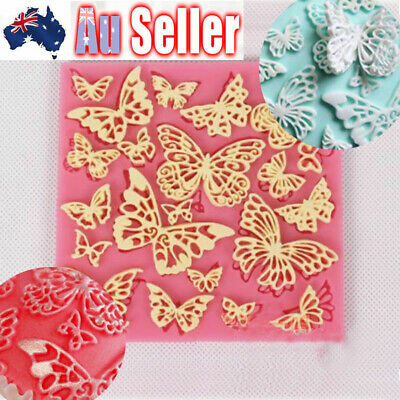 AU5.99 • Buy Butterfly Lace Silicone Fondant Cake Decor Mould Sugarcraft Icing Chocolate Mold