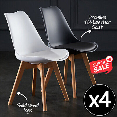 AU119 • Buy 2/4x Kitchen Dining Chairs Chair Replica PU Leather Cafe Chair Wooden Legs