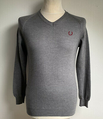 £24.98 • Buy FRED PERRY Mens V Neck Jumper MERINO WOOL Grey Size Small S