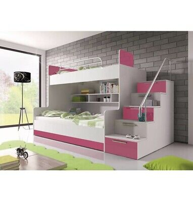 £350 • Buy Used Bunk Bed PARADISE 2 Cabin Kids Sleeper Pink And White Of High Gloss Inserts